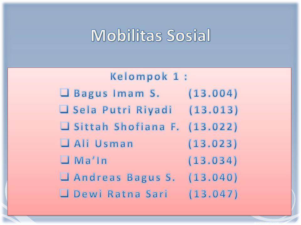 Mobilitas Sosial Kelompok 1 : Bagus Imam S. (13.004)