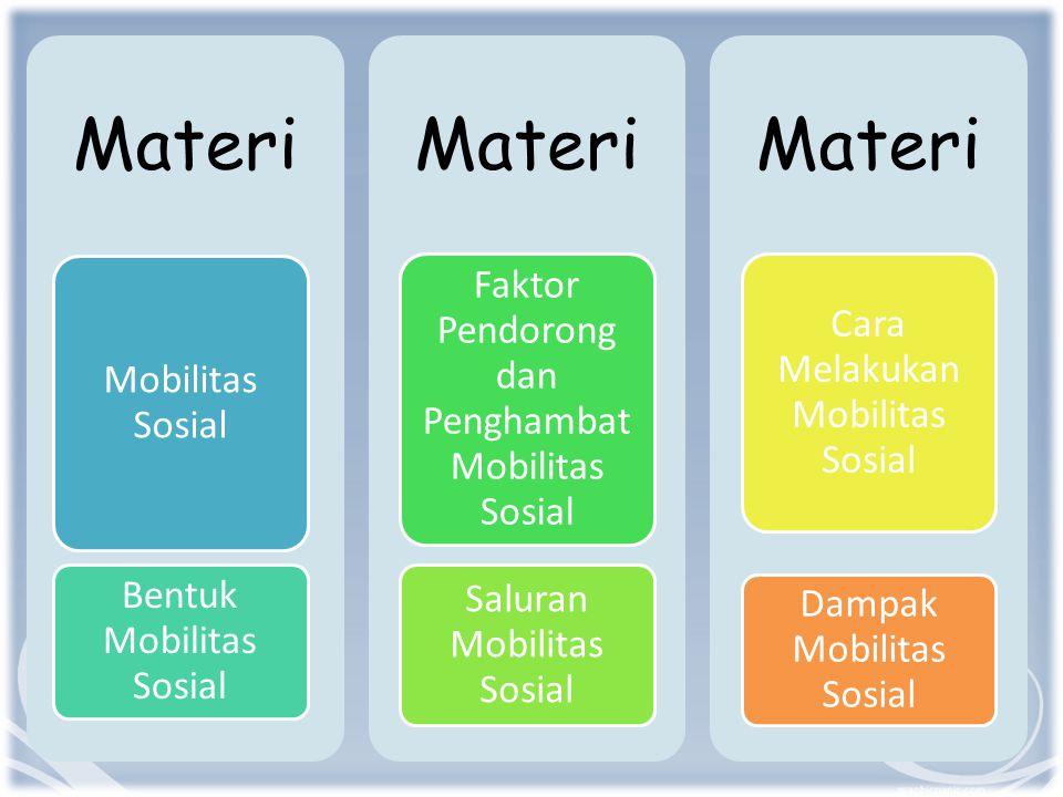Materi Mobilitas Sosial Bentuk Mobilitas Sosial