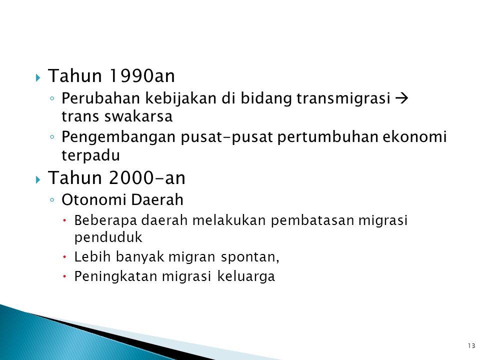 Tahun 1990an Perubahan kebijakan di bidang transmigrasi  trans swakarsa. Pengembangan pusat-pusat pertumbuhan ekonomi terpadu.
