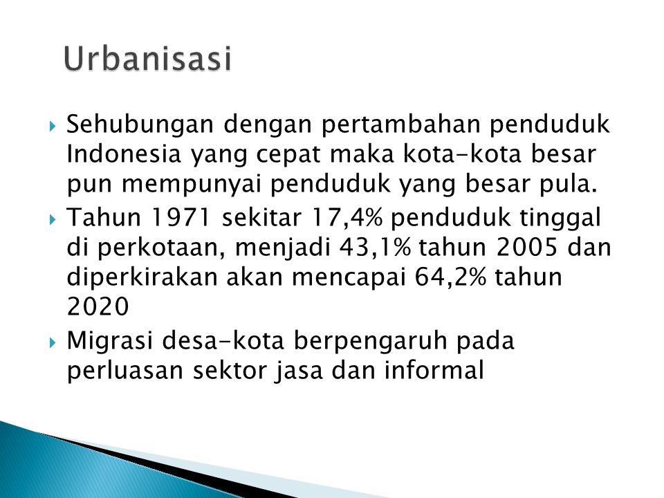 Urbanisasi Sehubungan dengan pertambahan penduduk Indonesia yang cepat maka kota-kota besar pun mempunyai penduduk yang besar pula.