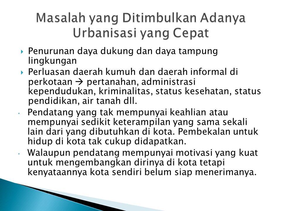 Masalah yang Ditimbulkan Adanya Urbanisasi yang Cepat