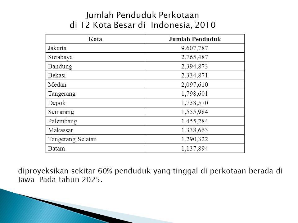 Jumlah Penduduk Perkotaan di 12 Kota Besar di Indonesia, 2010