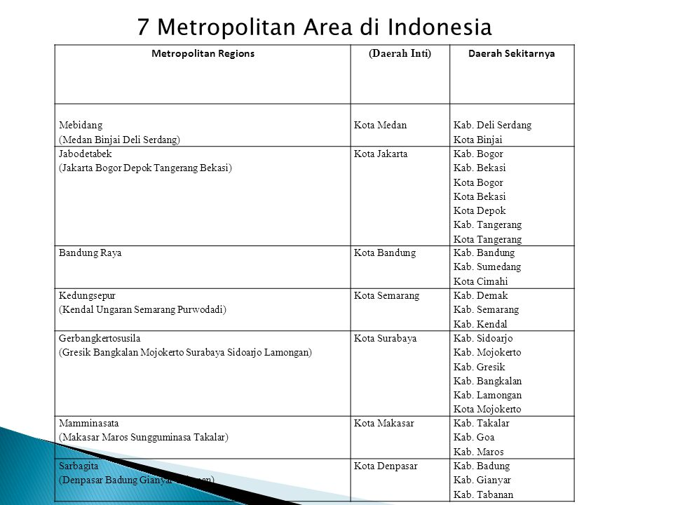 7 Metropolitan Area di Indonesia
