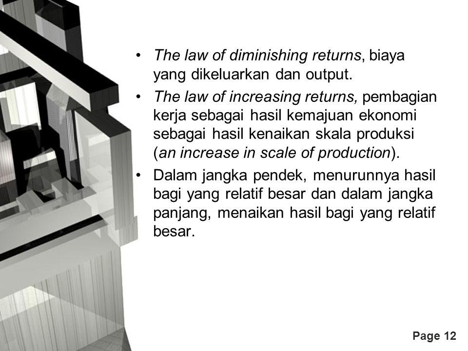 The law of diminishing returns, biaya yang dikeluarkan dan output.
