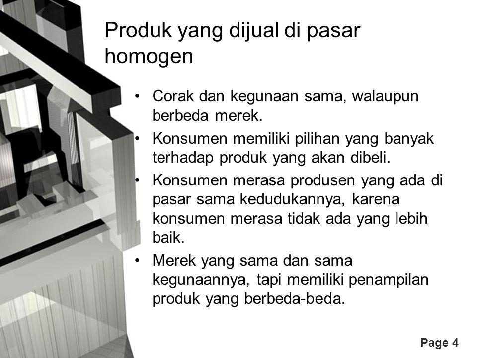 Produk yang dijual di pasar homogen