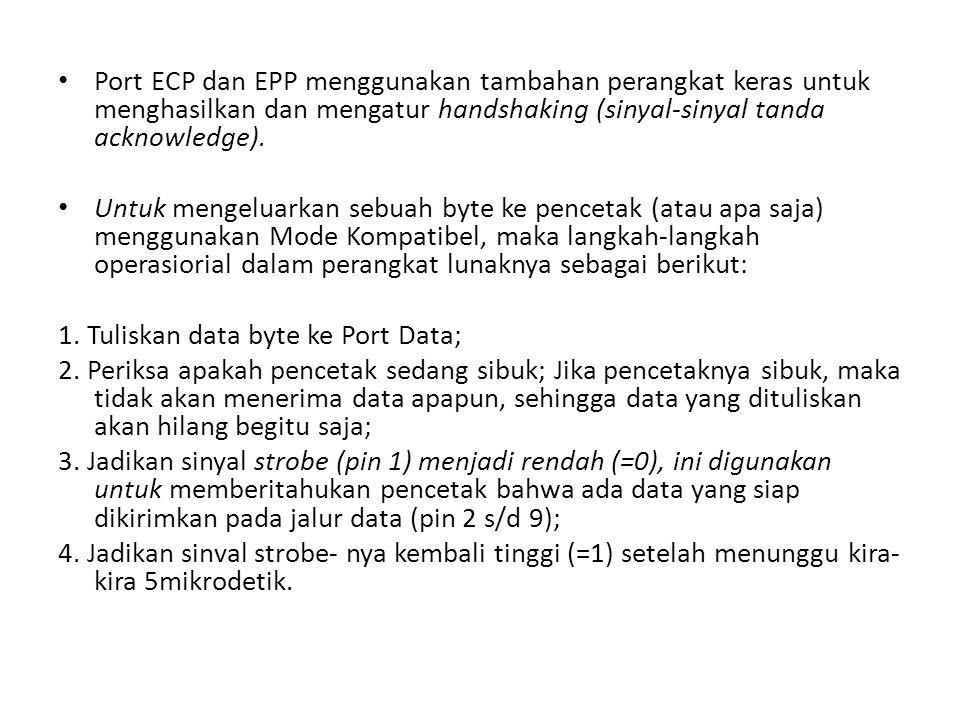 Port ECP dan EPP menggunakan tambahan perangkat keras untuk menghasilkan dan mengatur handshaking (sinyal-sinyal tanda acknowledge).