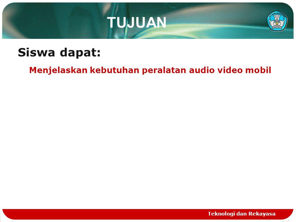 TUJUAN Siswa dapat: Menjelaskan kebutuhan peralatan audio video mobil