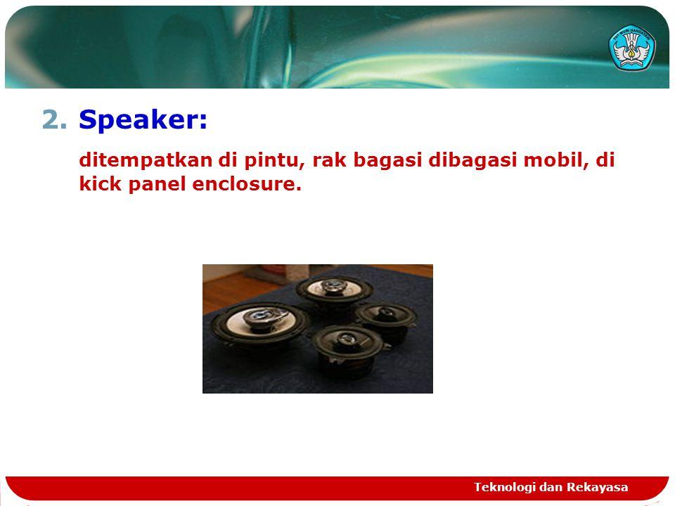 Speaker: ditempatkan di pintu, rak bagasi dibagasi mobil, di kick panel enclosure.