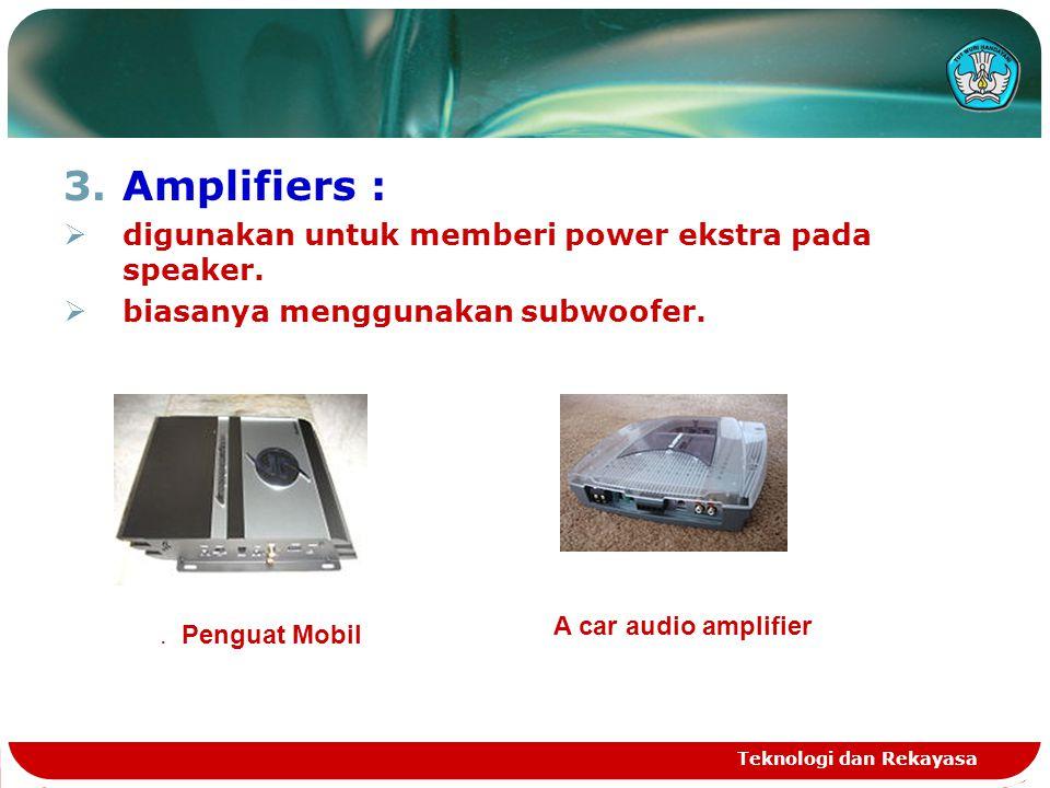 Amplifiers : digunakan untuk memberi power ekstra pada speaker.
