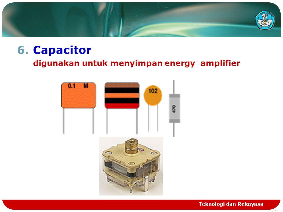 Capacitor digunakan untuk menyimpan energy amplifier