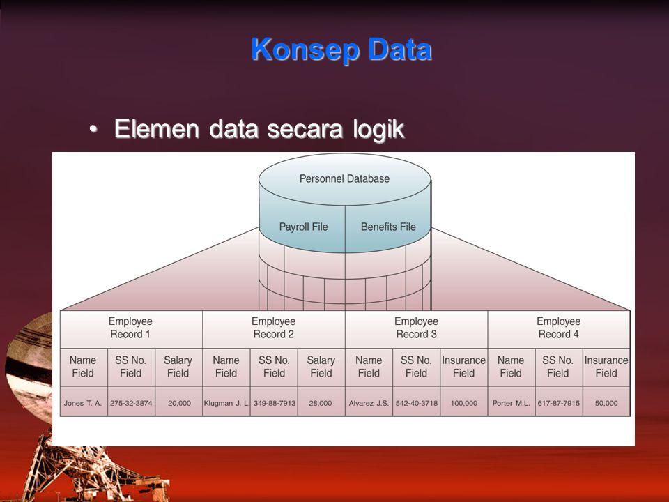 Konsep Data Elemen data secara logik