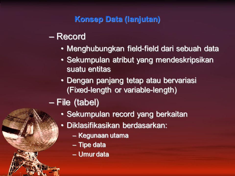 Konsep Data (lanjutan)