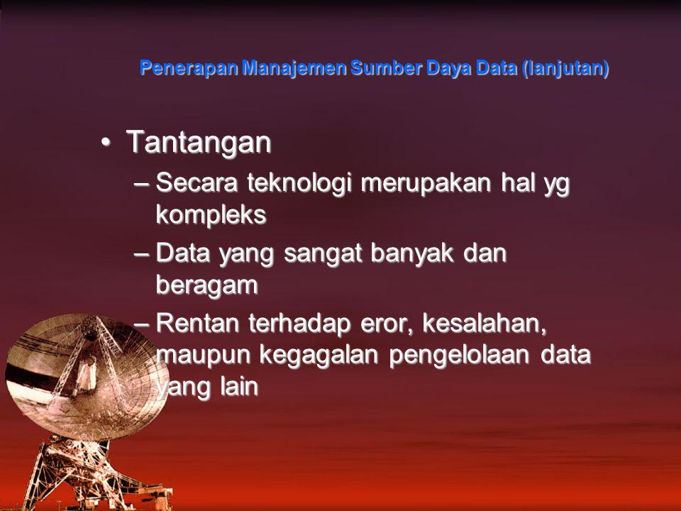 Penerapan Manajemen Sumber Daya Data (lanjutan)