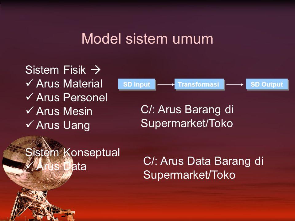 Model sistem umum Sistem Fisik  Arus Material Arus Personel