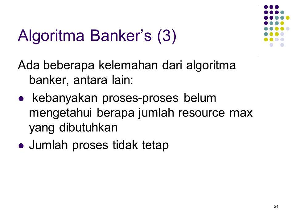 Algoritma Banker's (3) Ada beberapa kelemahan dari algoritma banker, antara lain: