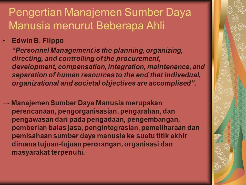 Pengertian Manajemen Sumber Daya Manusia menurut Beberapa Ahli