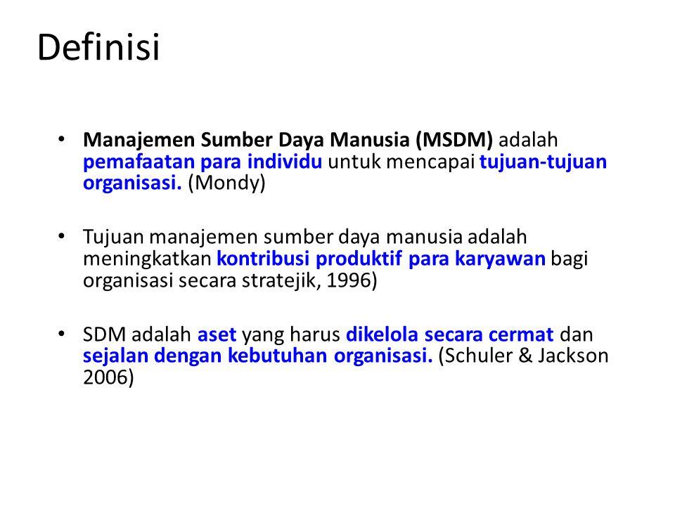Definisi Manajemen Sumber Daya Manusia (MSDM) adalah pemafaatan para individu untuk mencapai tujuan-tujuan organisasi. (Mondy)