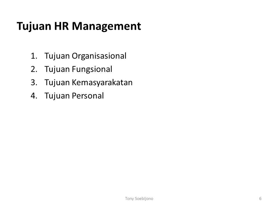 Tujuan HR Management Tujuan Organisasional Tujuan Fungsional