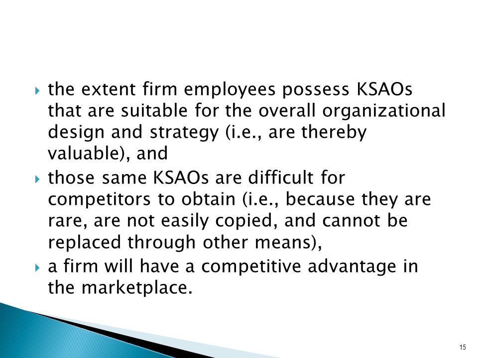 the extent firm employees possess KSAOs that are suitable for the overall organizational design and strategy (i.e., are thereby valuable), and