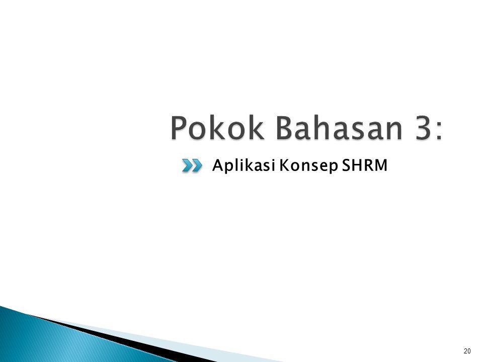 Pokok Bahasan 3: Aplikasi Konsep SHRM