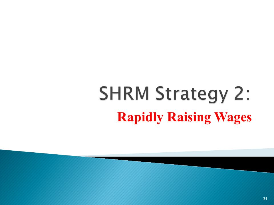 SHRM Strategy 2: Rapidly Raising Wages