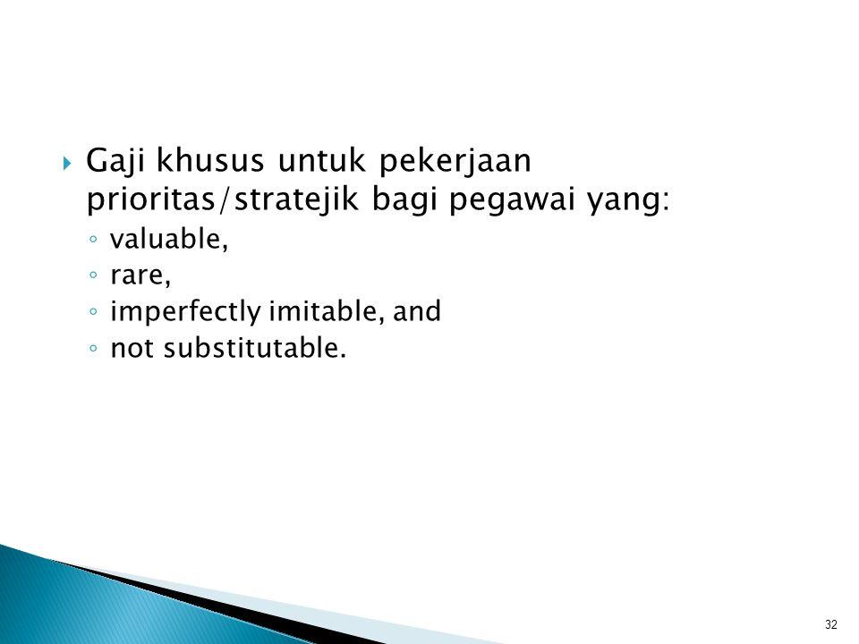 Gaji khusus untuk pekerjaan prioritas/stratejik bagi pegawai yang: