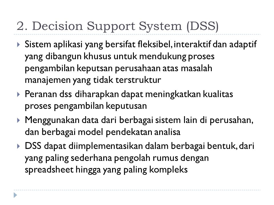 2. Decision Support System (DSS)