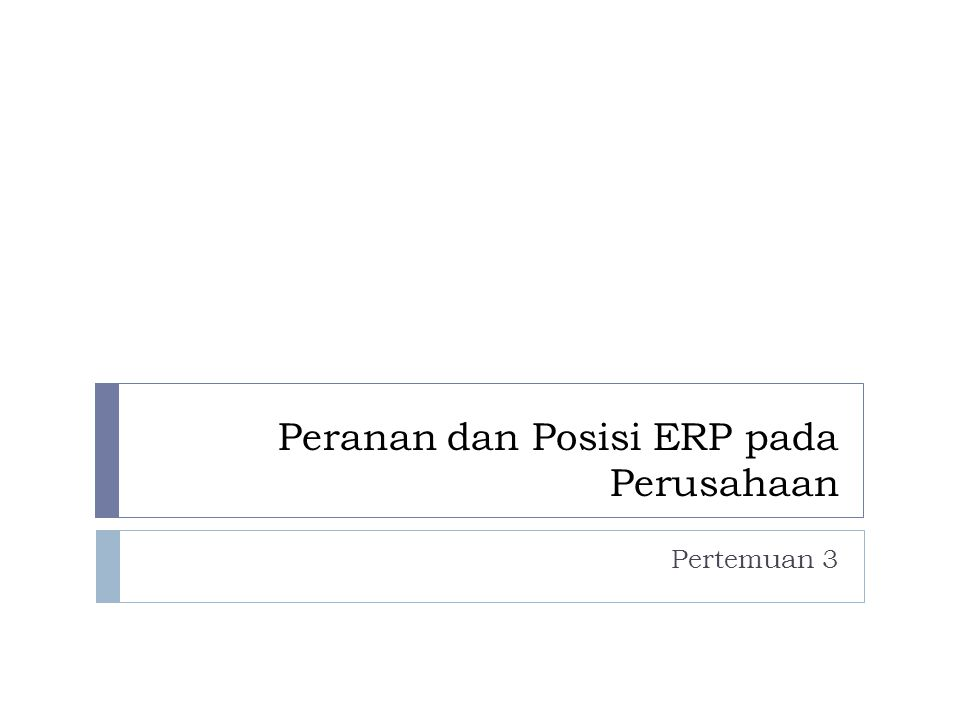Peranan dan Posisi ERP pada Perusahaan