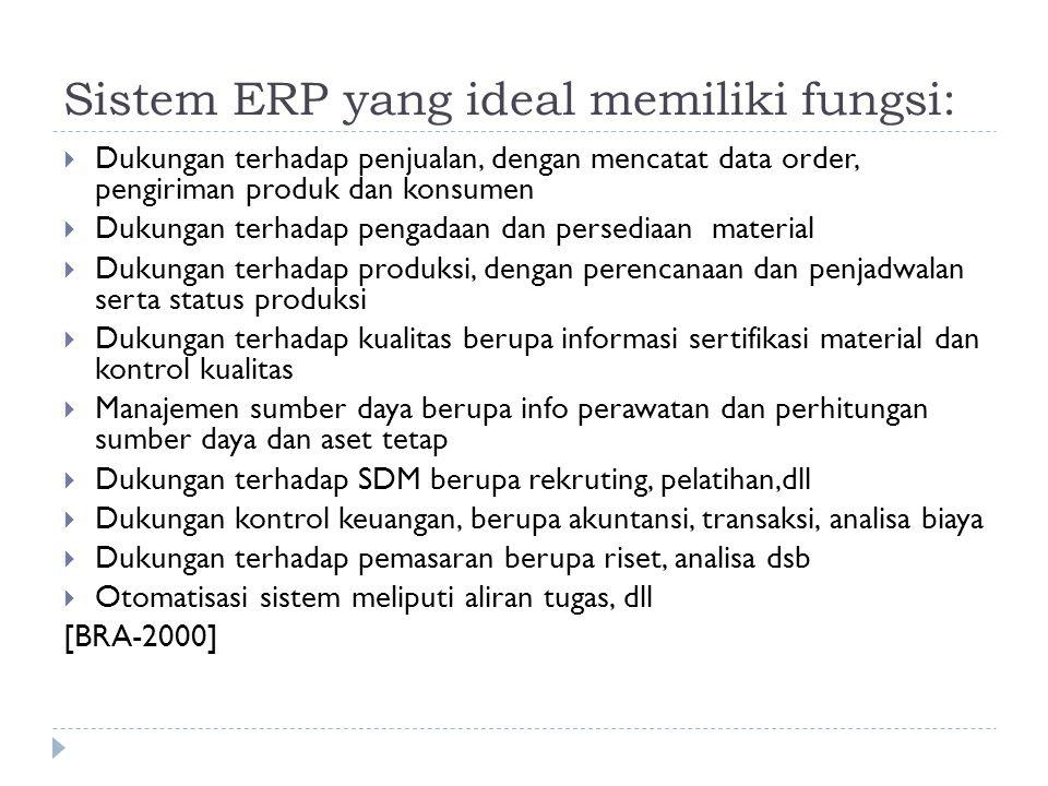 Sistem ERP yang ideal memiliki fungsi: