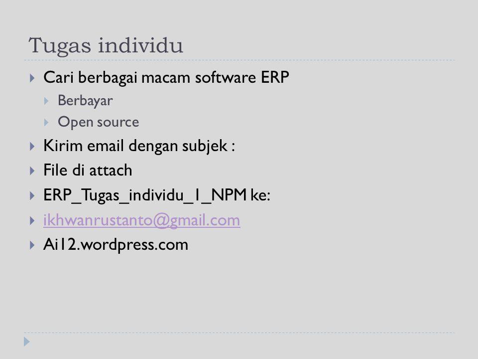Tugas individu Cari berbagai macam software ERP