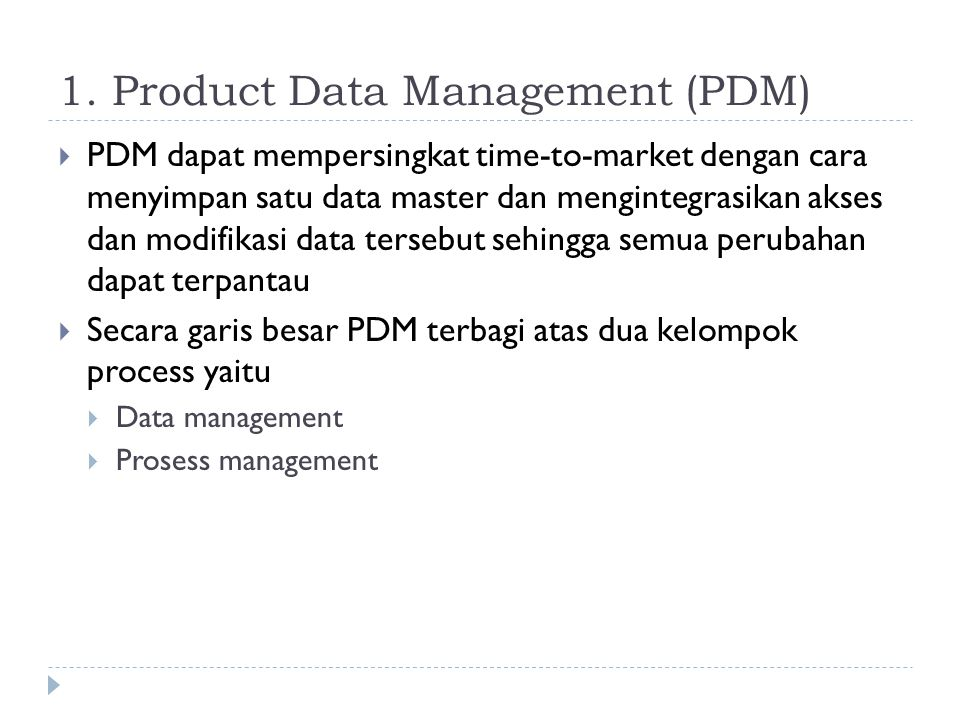 1. Product Data Management (PDM)