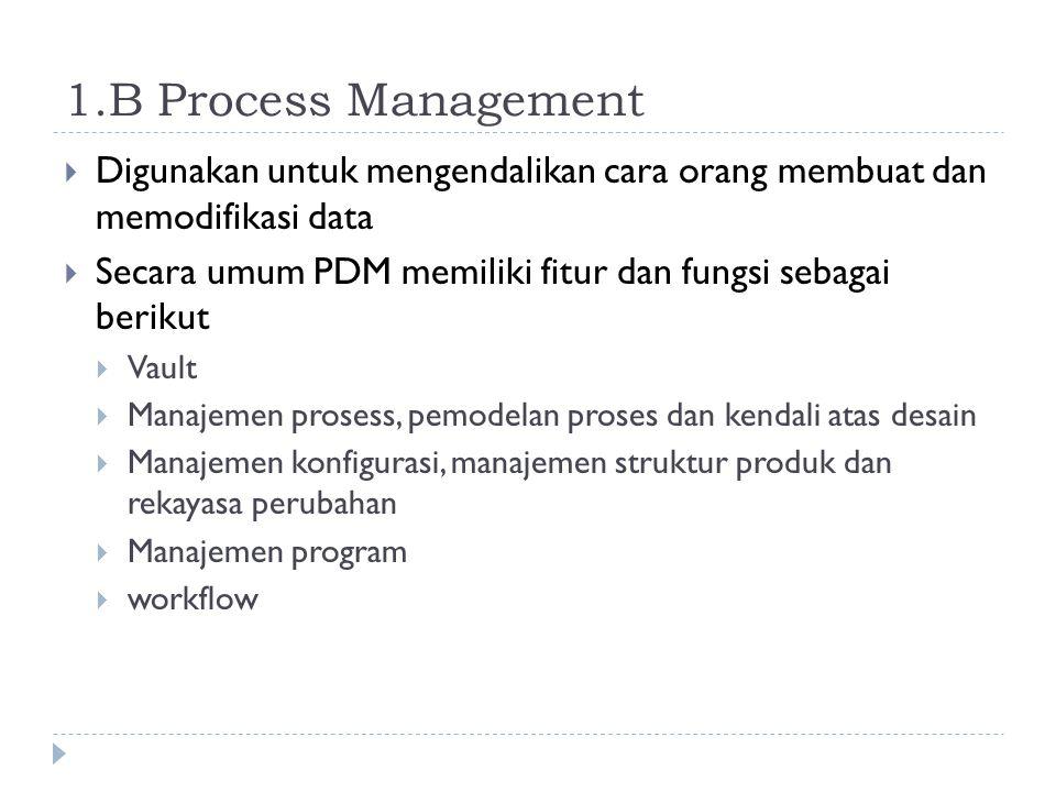 1.B Process Management Digunakan untuk mengendalikan cara orang membuat dan memodifikasi data.