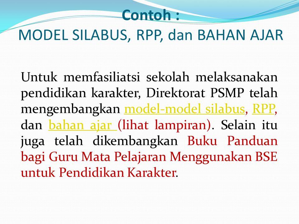 Contoh : MODEL SILABUS, RPP, dan BAHAN AJAR