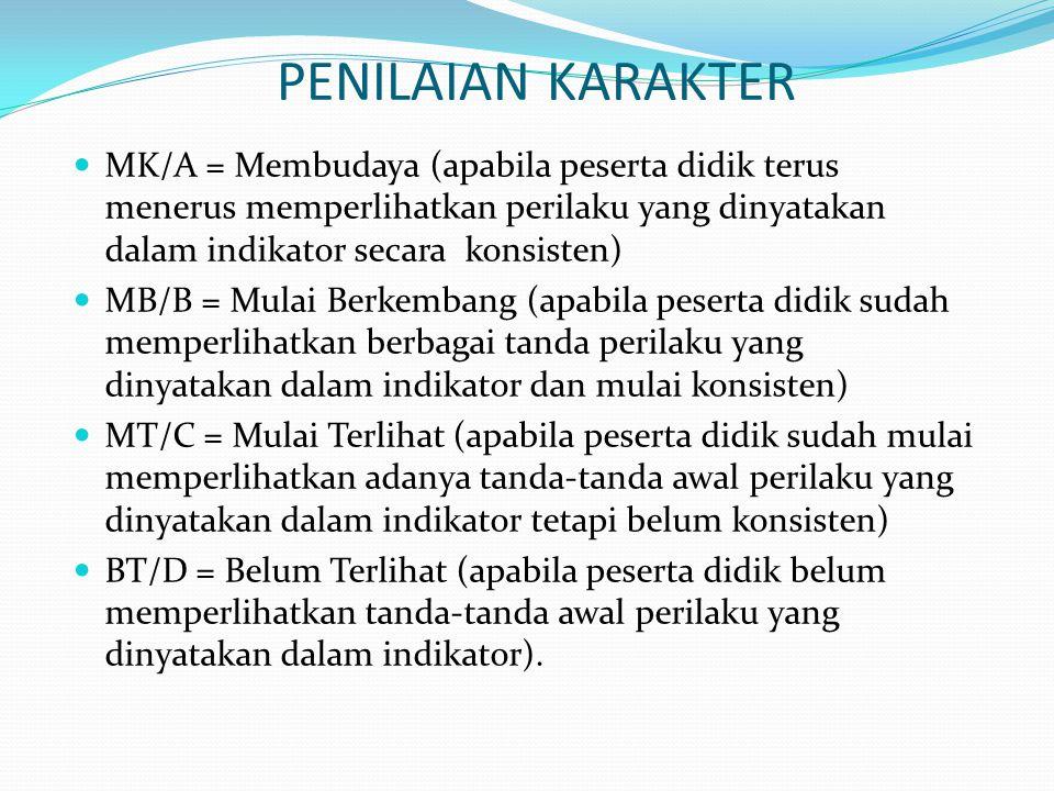 PENILAIAN KARAKTER MK/A = Membudaya (apabila peserta didik terus menerus memperlihatkan perilaku yang dinyatakan dalam indikator secara konsisten)