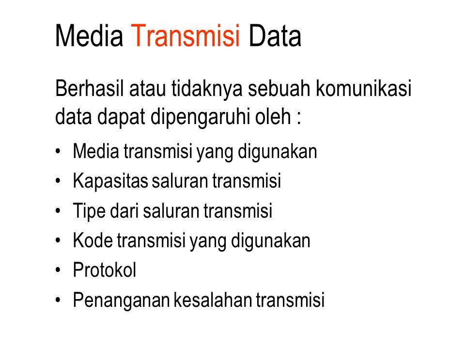 Media Transmisi Data Berhasil atau tidaknya sebuah komunikasi data dapat dipengaruhi oleh : Media transmisi yang digunakan.