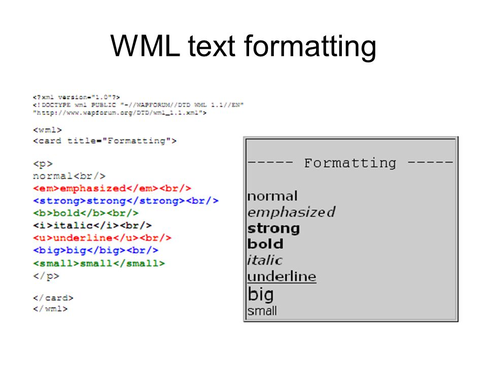 WML text formatting