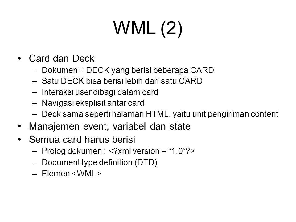 WML (2) Card dan Deck Manajemen event, variabel dan state