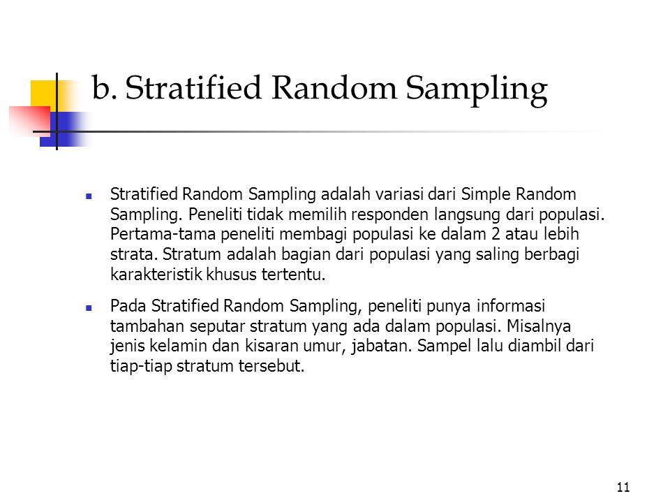 b. Stratified Random Sampling