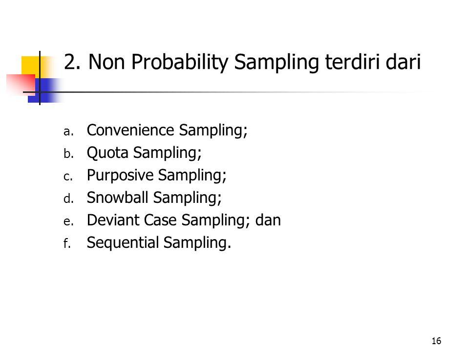 2. Non Probability Sampling terdiri dari