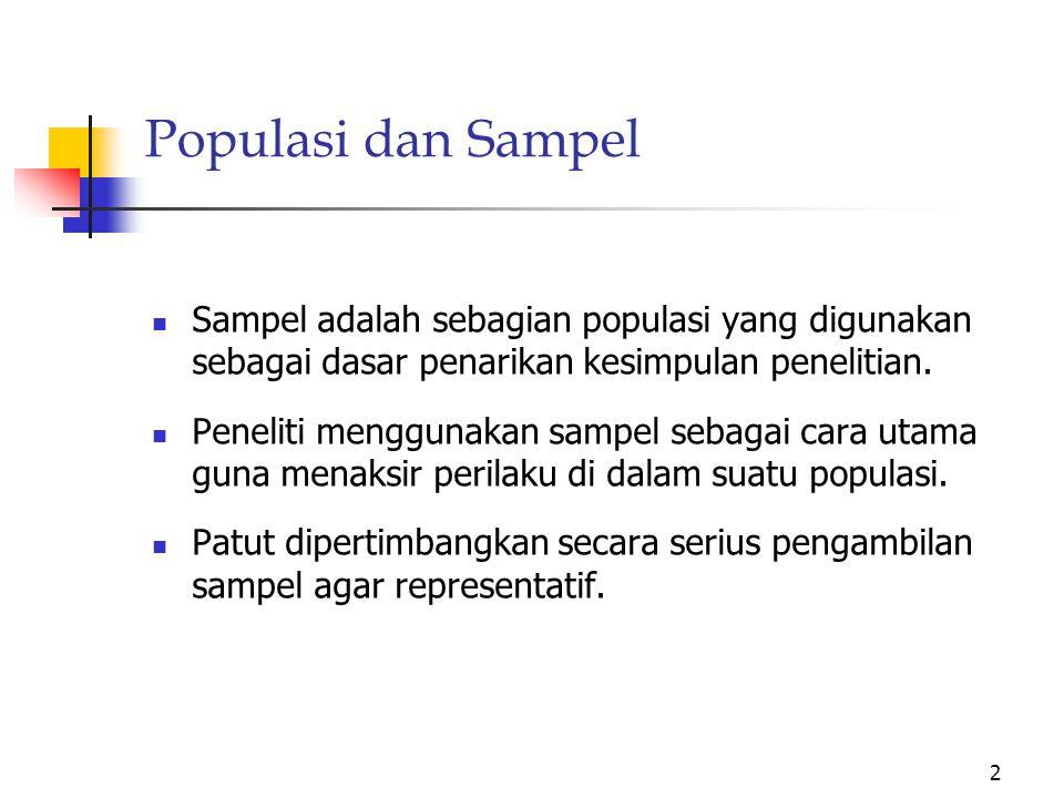 Populasi dan Sampel Sampel adalah sebagian populasi yang digunakan sebagai dasar penarikan kesimpulan penelitian.