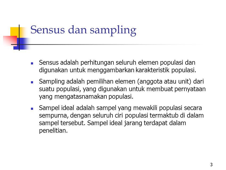 Sensus dan sampling Sensus adalah perhitungan seluruh elemen populasi dan digunakan untuk menggambarkan karakteristik populasi.
