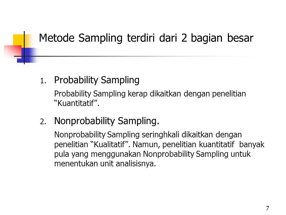 Metode Sampling terdiri dari 2 bagian besar