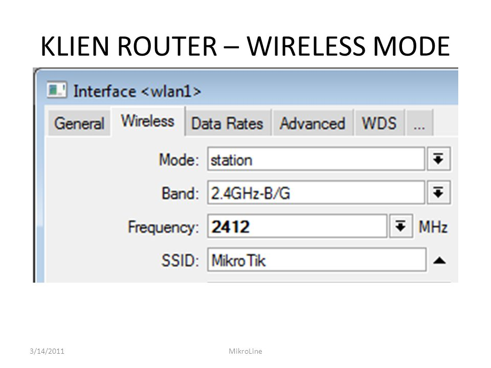KLIEN ROUTER – WIRELESS MODE