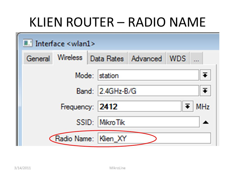 KLIEN ROUTER – RADIO NAME