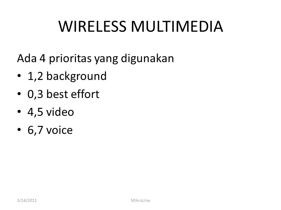 WIRELESS MULTIMEDIA Ada 4 prioritas yang digunakan 1,2 background