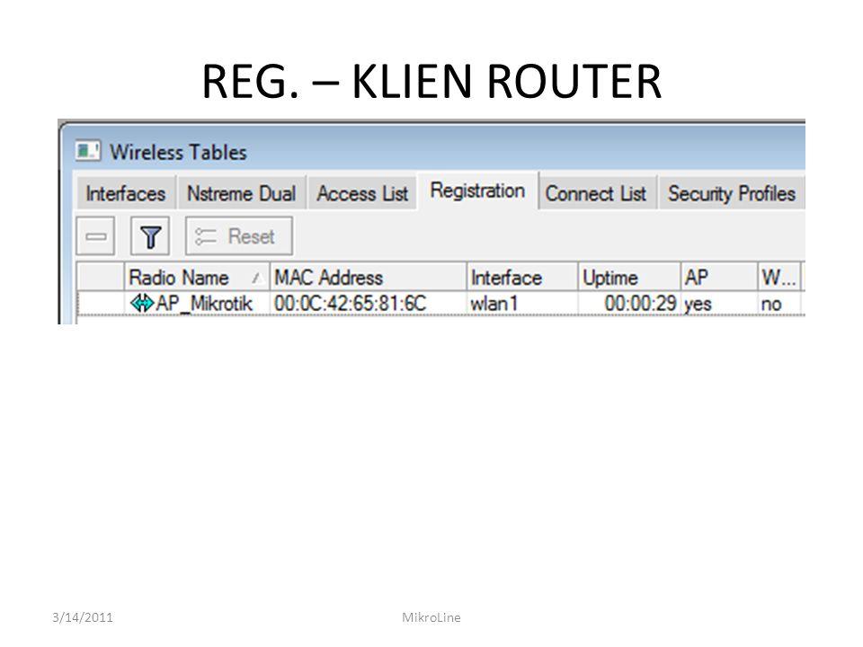 REG. – KLIEN ROUTER 3/14/2011 MikroLine