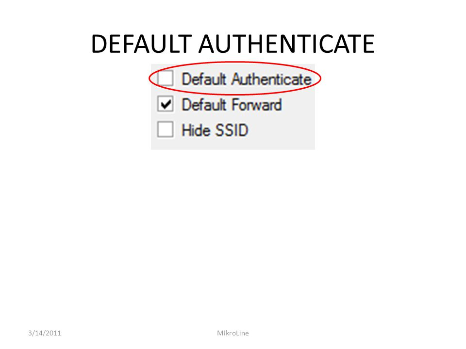 DEFAULT AUTHENTICATE 3/14/2011 MikroLine