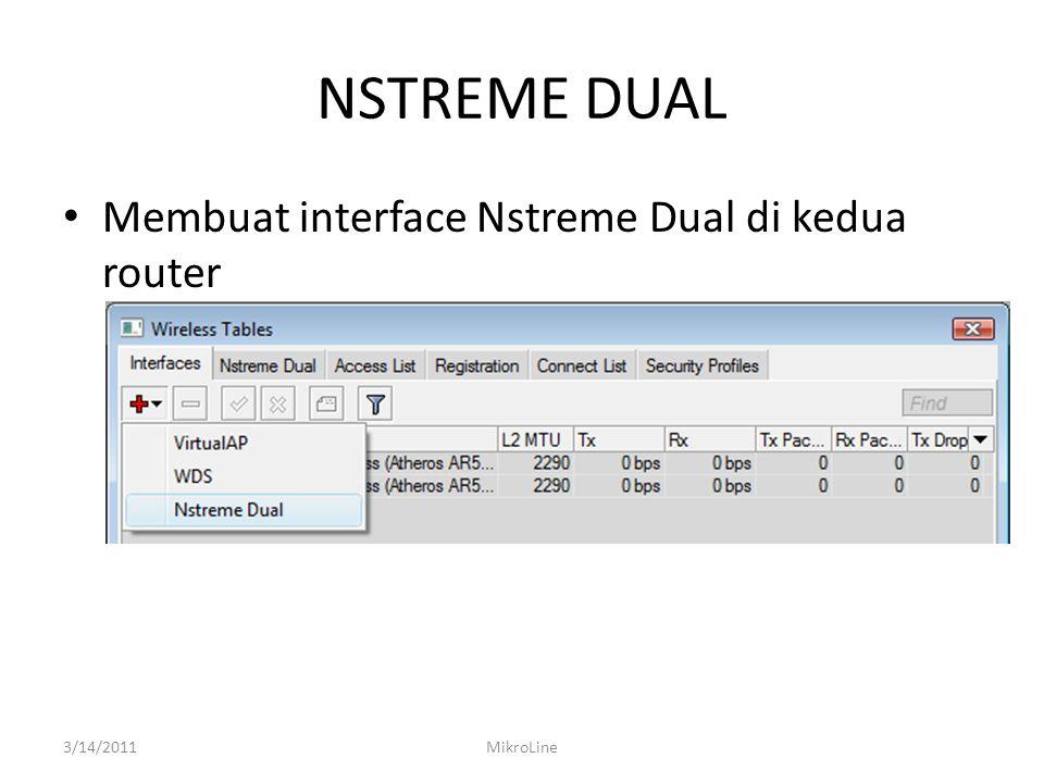 NSTREME DUAL Membuat interface Nstreme Dual di kedua router 3/14/2011