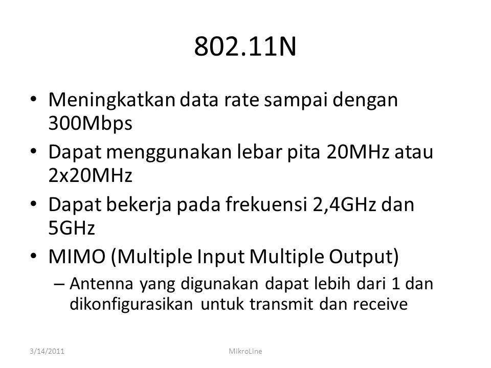 802.11N Meningkatkan data rate sampai dengan 300Mbps