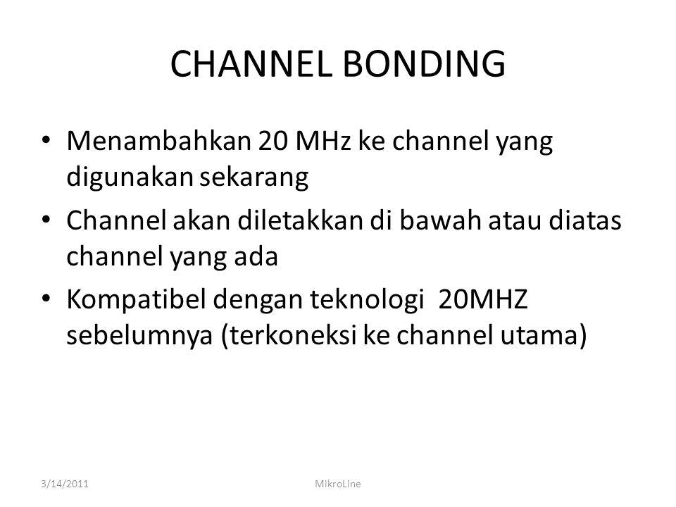 CHANNEL BONDING Menambahkan 20 MHz ke channel yang digunakan sekarang